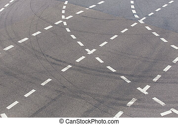 white marking on highway top view