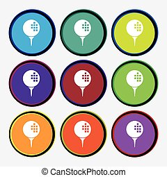Golf icon sign. Nine multi colored round buttons. Vector