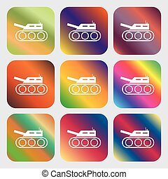 Tank, war, army icon . Nine buttons with bright gradients...