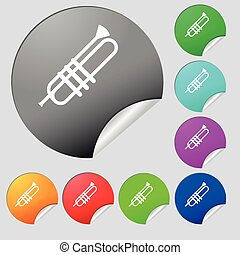 Trumpet icons sign. Set of eight multi colored round buttons, stickers. Vector