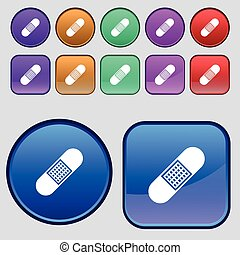 Band Aid Icon sign. A set of twelve vintage buttons for your design. Vector