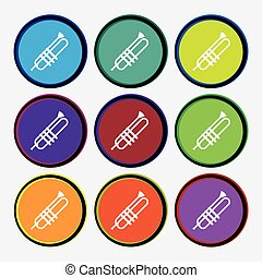 Trumpet icons sign. Nine multi colored round buttons. Vector