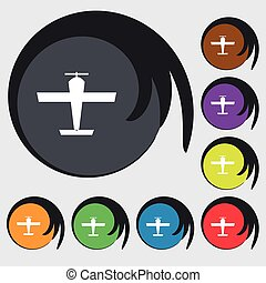 Plane icon sign. Symbols on eight colored buttons. Vector