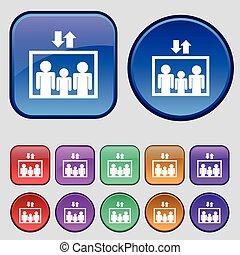 Elevator symbol sign. A set of twelve vintage buttons for...