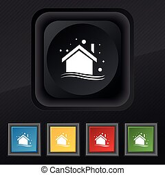 Winter house icon symbol. Set of five colorful, stylish buttons on black texture for your design. Vector