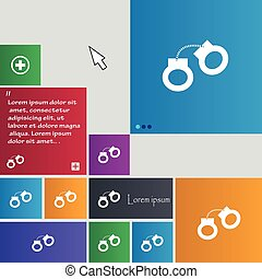 handcuffs icon sign. buttons. Modern interface website...