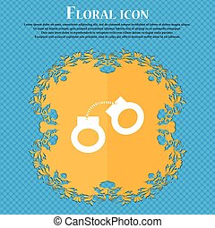 handcuffs icon icon. Floral flat design on a blue abstract...