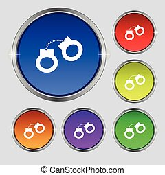 handcuffs icon sign. Round symbol on bright colourful...