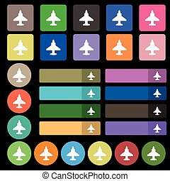Aircraft or Airplane Icon sign. Set from twenty seven multicolored flat buttons. Vector
