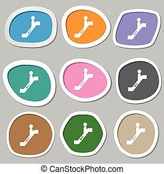 escalator down Icon symbols. Multicolored paper stickers....