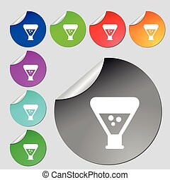 chemistry icon sign. Set of eight multi colored round...