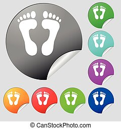 Food step Icon sign. Set of eight multi colored round buttons, stickers. Vector