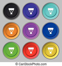 chemistry icon sign. symbol on nine round colourful buttons....