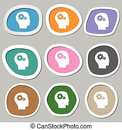 Pictograph of gear in head icon symbols. Multicolored paper stickers. Vector