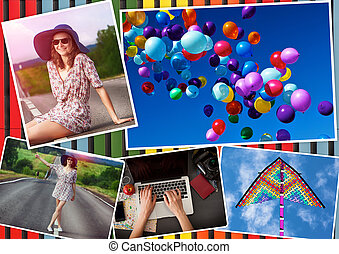 Collage with girl and travel theme