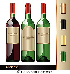 Vector wine bottles mockup, your la
