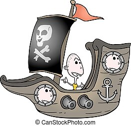 childrens in pirate ship