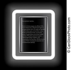 Glowing rectangular frame with space for text on a black background.