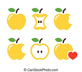 Yellow apple, apple core, bitten - Vector icons set of...