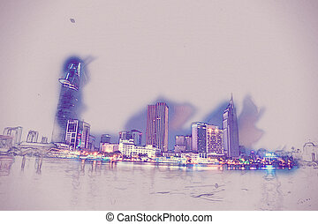 Cityscape of Ho Chi Minh at night with bright illumination...