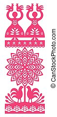 Polish folk art pattern - Vector folk design from the region...