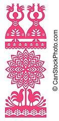 Polish folk art pattern - Vector folk design from the region...