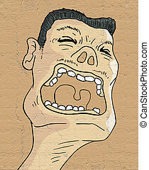 screaming expression - Creative design of screaming...