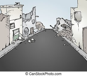street destroyed - Creative design of street destroyed