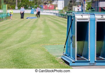 Greyhound racing on the grass at Potts Park, Sydney,...
