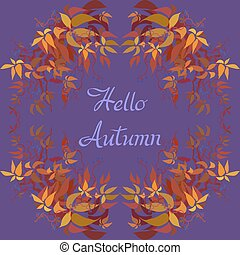 Autumn grape vine garland frame design and label with text...