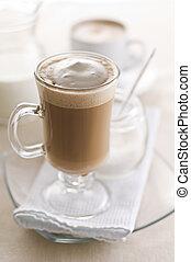Cappuccino - Large macchiato with cream and sugar close up