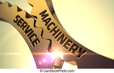 Golden Metallic Gears with Machinery Service Concept 3D...
