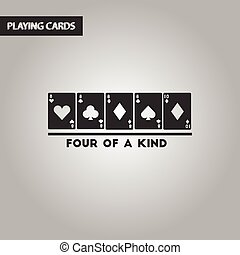 black and white style poker four of a kind - black and white...