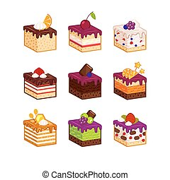 Cake slices with flavour decor - Flat design cake piese...