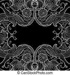 Linear abstract flourish frame at black
