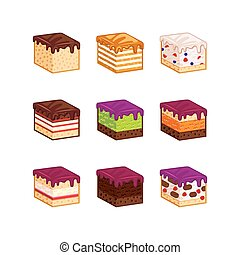 Flat design cake flavour slices - Flat design cake piese...