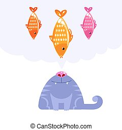 Cat character looking up to fish dream