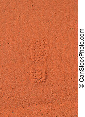 Shoe print in the sand - Shoe print in the red Australian...