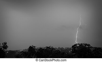 Lightening in the sky at city Sydney
