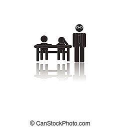 Back to School and Education vector flat icon in black and white style teacher and pupils