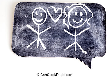 Stick Figure Love on Chalk Figure.
