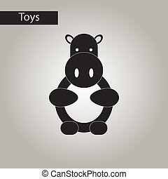 black and white style toy hippo