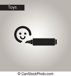 black and white style toy felt-tip marker - black and white...