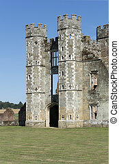 Castle Keep, Cowdray Castle Ruins, West Sussex, England -...