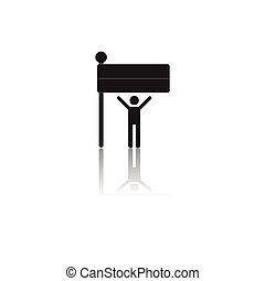 Black and white vector illustration of Independence Day in flat style man silhouette and flag