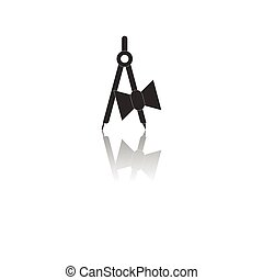 Back to School and Education vector flat icon in black and white style architect drafting compass