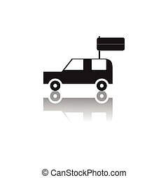 Black and white vector illustration of Independence Day in flat style car holding flag
