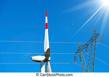 Wind Turbine with Power Line