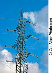 High Voltage Tower on Blue Sky with Clouds
