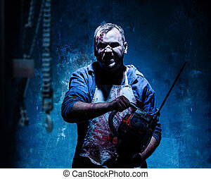 Bloody Halloween theme: crazy killer as butcher with...